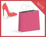 red women shoes and pink shopping bag
