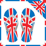 summer slippers with England flag design. vector illustration eps 10