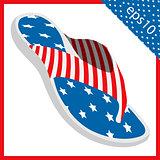 summer slippers with USA flag design. vector illustration eps 10