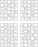four different white puzzles