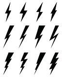 Black icons of thunder lighting