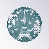 Christmas Paper Cut Greeting Card with Eiffel Tower in Paris Fra