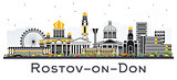 Rostov-on-Don Russia City Skyline with Color Buildings Isolated