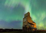 Aurora Borealis over a grain elevator in Saskatchewan, Canada