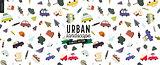 Urban landscape seamless pattern