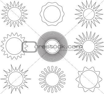 Thin line sun symbols