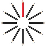 Pencils in circle with red leader