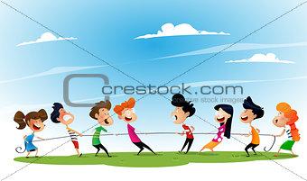 Fun cartoon boys and girls pulling rope.