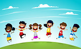 Happy school multiracial children joyfully jumping .