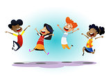 Happy school multiracial children joyfully jumping