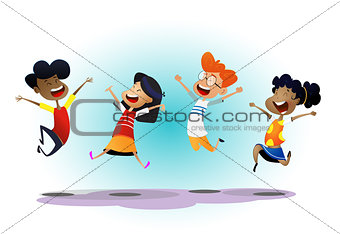 Happy school multiracial children joyfully jumping