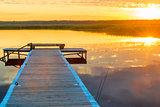 horizontal picture of a beautiful landscape - a long wooden pier