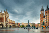 Beautiful postcard view of Krakow's main square in rainy weather