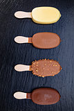 Ice cream on stick covered with chocolate