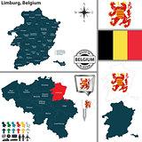 Map of Limburg, Belgium