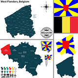 Map of West Flanders, Belgium