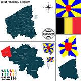 Map of West Flanders, Belgium