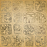Mayan and aztec glyphs