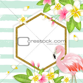 Floral tropical banner with flamingo