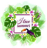 Summer vector tropical background with toucan