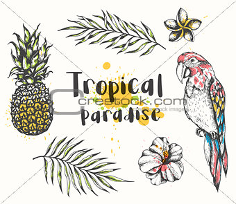 Parrot and tropical plants