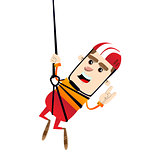Boy ziplining.