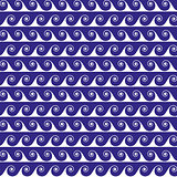 Blue waves lines seamless vector greek pattern.