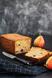 Fresh homemade delicious loaf cake with pears and prunes