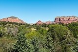 View from Red Rock Park Ranger Station of Castle Rock, Bell Rock, and Courthouse Butte