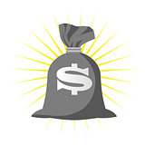 Sack full of money with dollar sign - wealth or riches concept