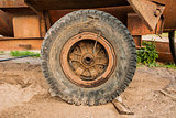 The old wheel of the trailer