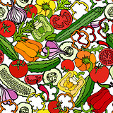 Vegetable Seamless Pattern with Cucumbers, Red Tomatoes, Bell Pepper, Beet, Carrot, Onion, Garlic, Chilli. Fresh Green Salad. Healthy Vegetarian Food. Hand Drawn Illustration. Doodle Style.
