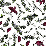 Seamless Endless Pattern of Rosemary Branch, Red Basil and Sage. Background with Aromatic Healing Herb. Steak Meat Spice. Hand Drawn Illustration. Savoyar Doodle Style.