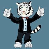 Tiger albino in suit