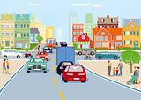 City with traffic illustration