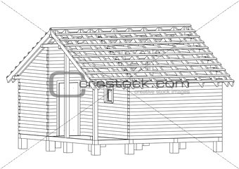 Bath house project. Vector