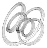 Torus outline. Vector rendering of 3d
