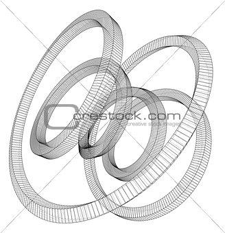 Torus outline. Vector rendering of 3d
