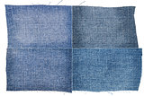 Collection of light blue jeans fabric textures