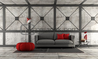 Modern sofa in a loft