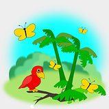 Red Parrot in the Jungle with Butterflies.