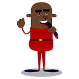 African american boy singing.