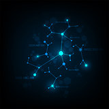 Vector data network design on a dark blue background.