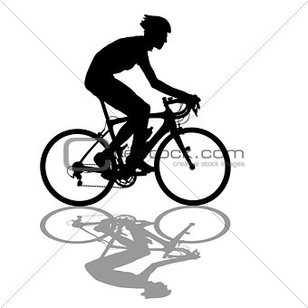 Silhouette of a cyclist male on white background