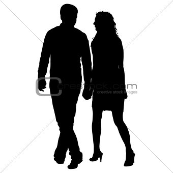 Couples man and woman silhouettes on a white background