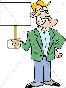 Cartoon Smiling Man Holding A Sign.