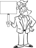 Cartoon Smiling Man Holding A Sign.