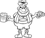 Cartoon Man Holding A Beer And A Pretzel.