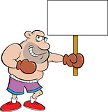 Cartoon Boxer Holding A Sign.