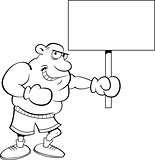 Cartoon Boxer Holding A Sign.